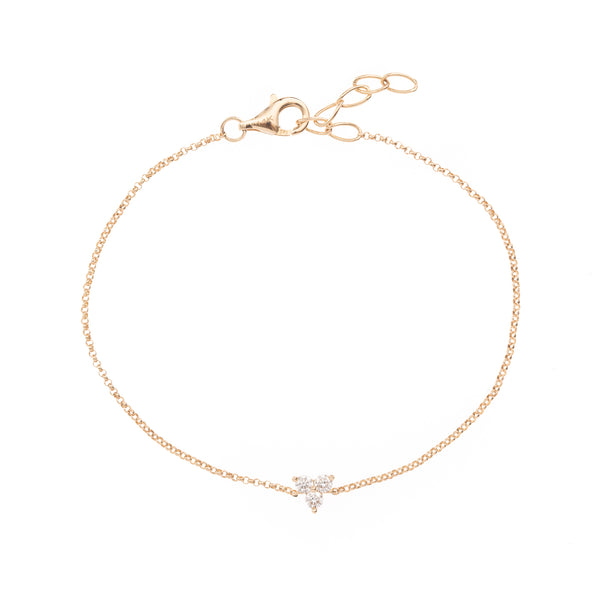 Tri Diamond Gold Chain Bracelet