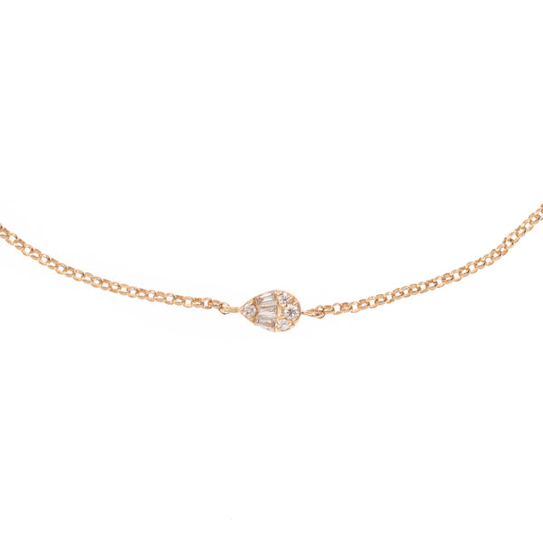 Diamond Drop Gold Chain Bracelet