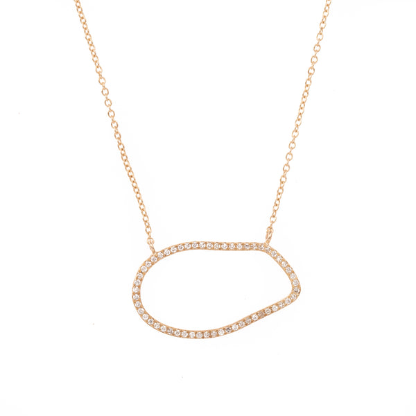 Organic Hollow Shape Gold and Diamond Necklace