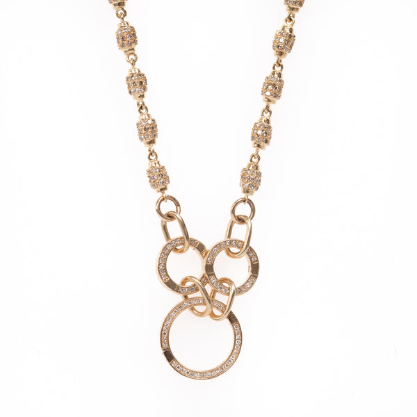 Pave Gold Link with Three Charm Circles Chain 21""