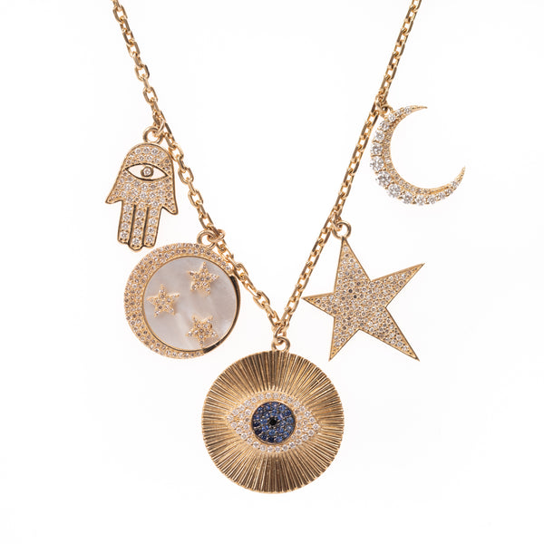 Fortunate Symbols Gold Necklace
