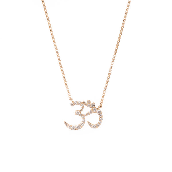 Gold Om Symbol Diamond Necklace