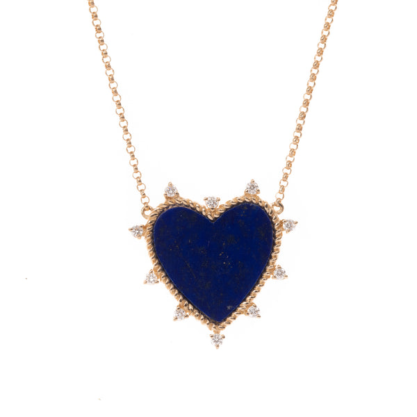 Lapis and Diamond Gold Heart Necklace