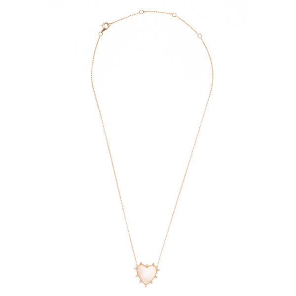 Mother of Pearl and Diamond Gold Heart Necklace