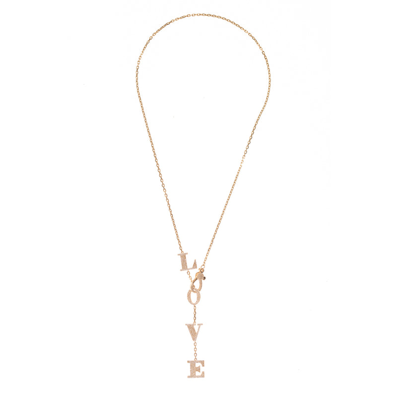 LOVE Letters Diamond Drop Necklace