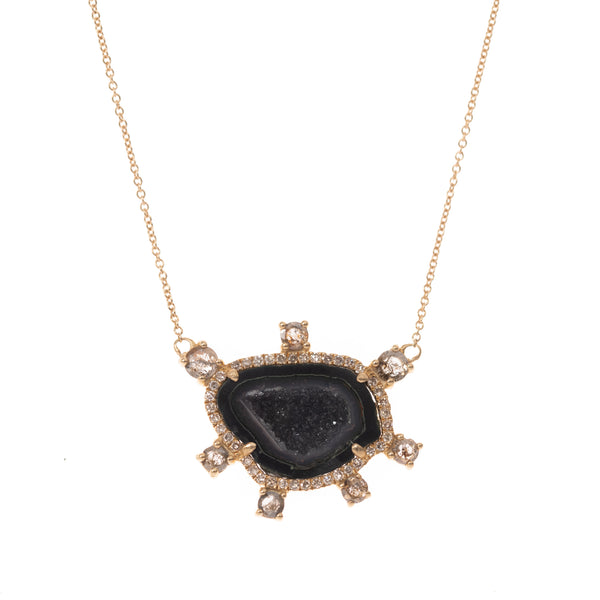 Dark Geode and Diamond Halo Gold Necklace