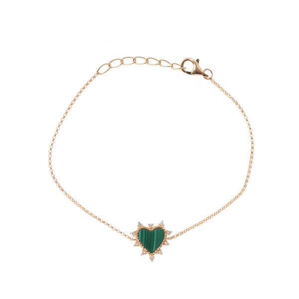 Malachite Heart with Diamond Halo Gold Chain Bracelet