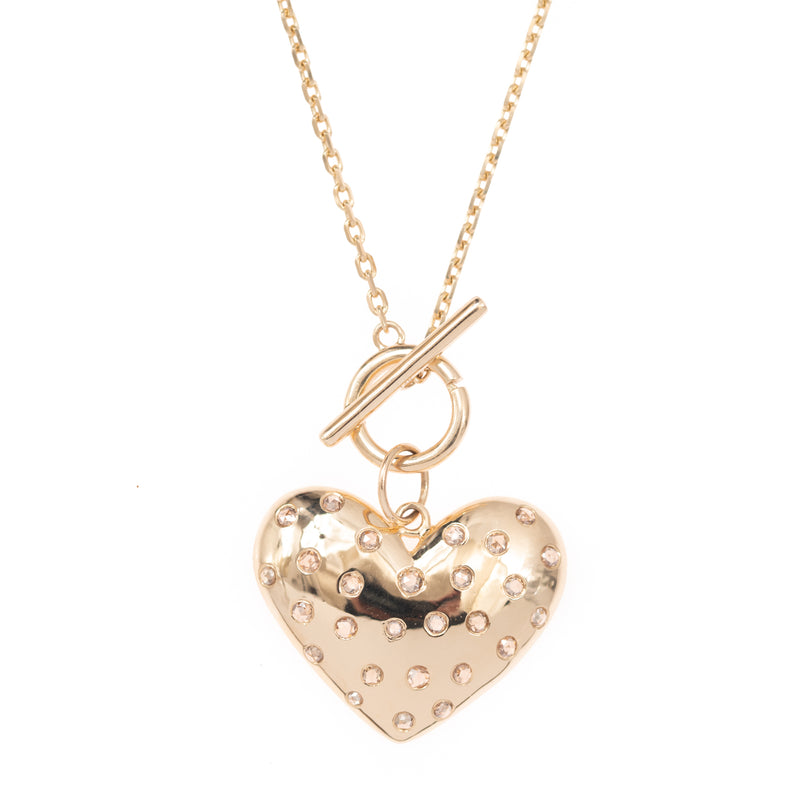 Diamond Dot Gold Heart Pendant