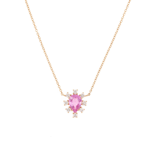 Delicate Pink Sapphire Drop Gold Necklace