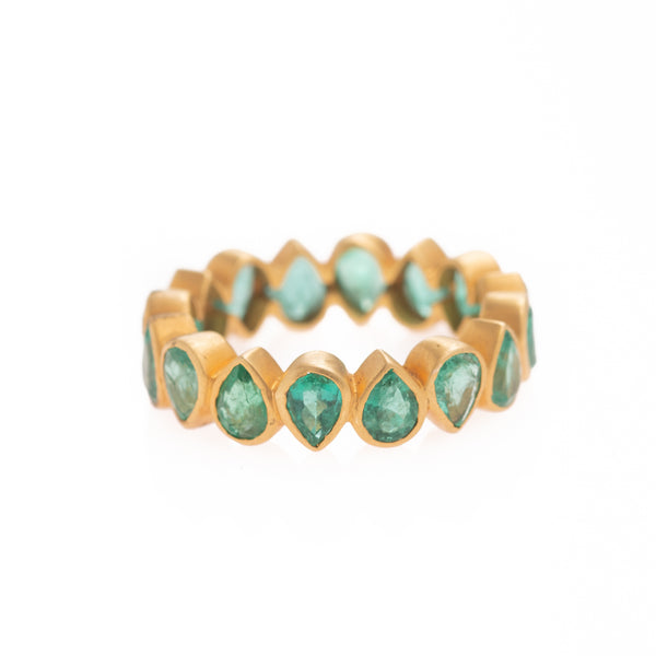 Emerald Drops All Around Gold Ring