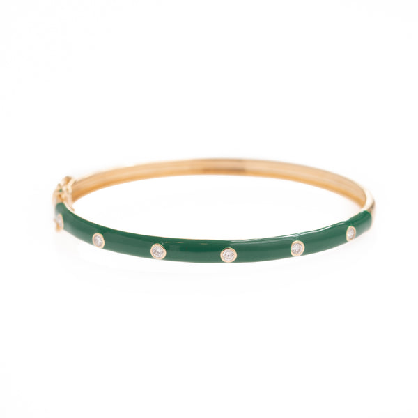 Diamond in Green Enamel Gold Bracelet