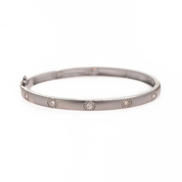 Diamond Halos set in Silver Bracelet