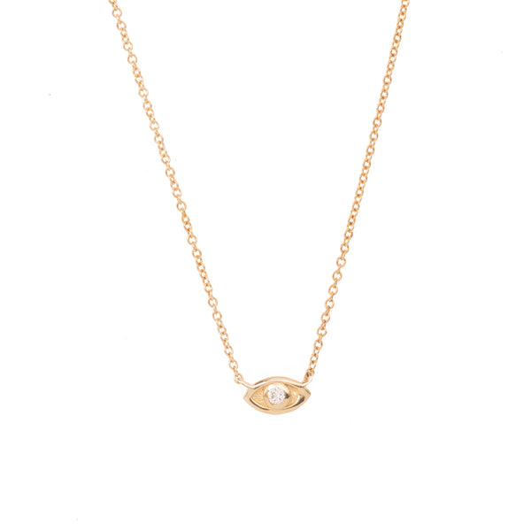 Extra Small Diamond Evil Eye Gold Necklace