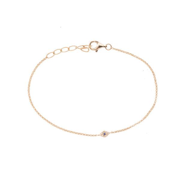 Extra Small Evil Eye Gold Chain Bracelet