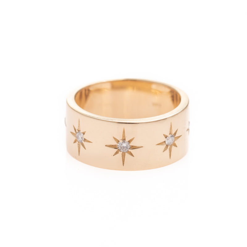 Five Starburst Gold Ring
