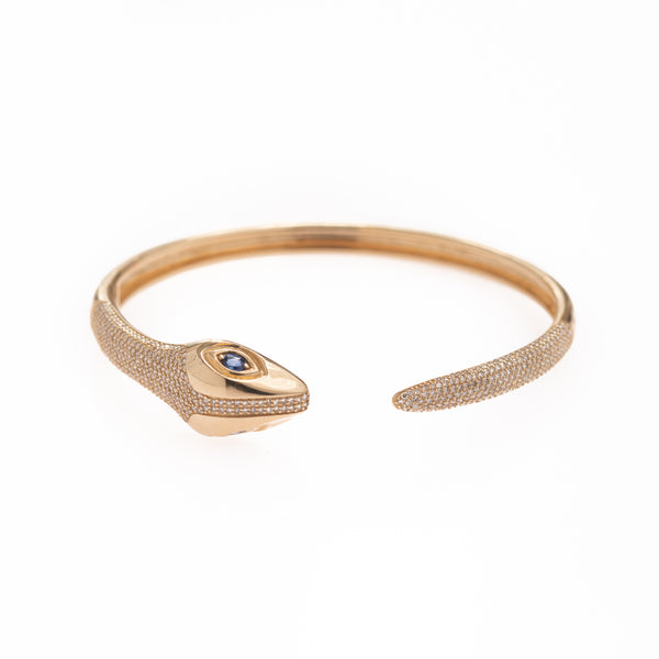 Gold Snake with Sapphire Eye Cuff