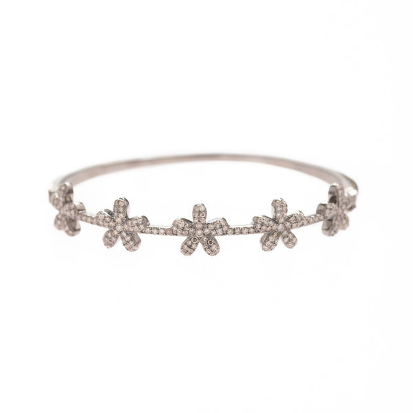 Flowers set in Silver Bracelet