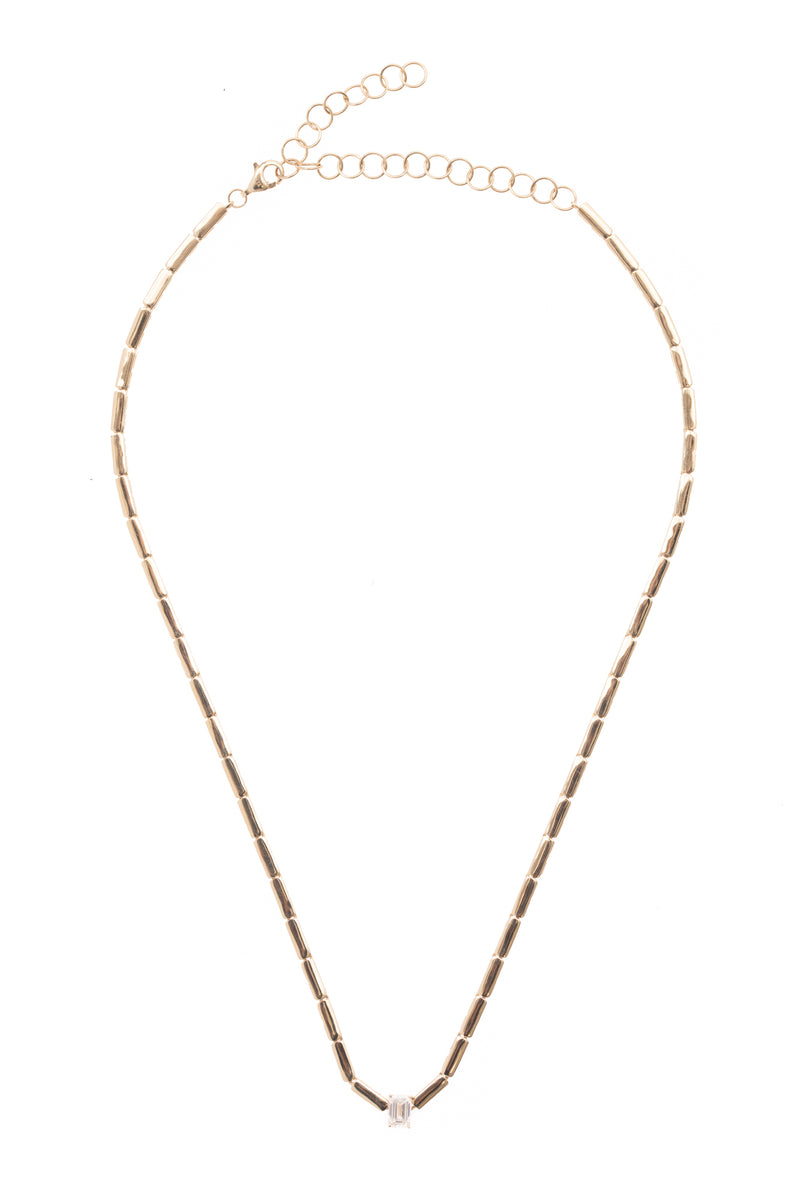Gold Bar and Baguette Diamond Necklace
