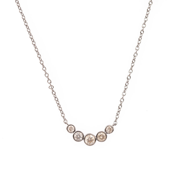 Five Curved Diamond Silver Necklace