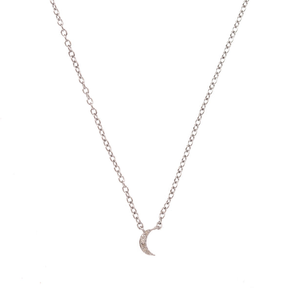 Extra Small Silver Crescent Moon Necklace
