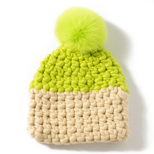 Deep Color Block Beanie Pomster
