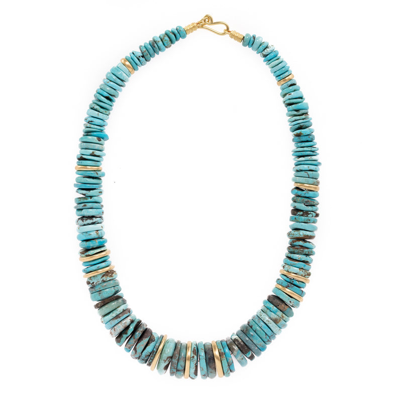 Turquoise and Gold Disc Necklace