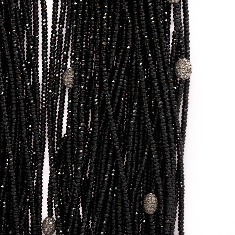 Onyx and Diamond Bead Necklace