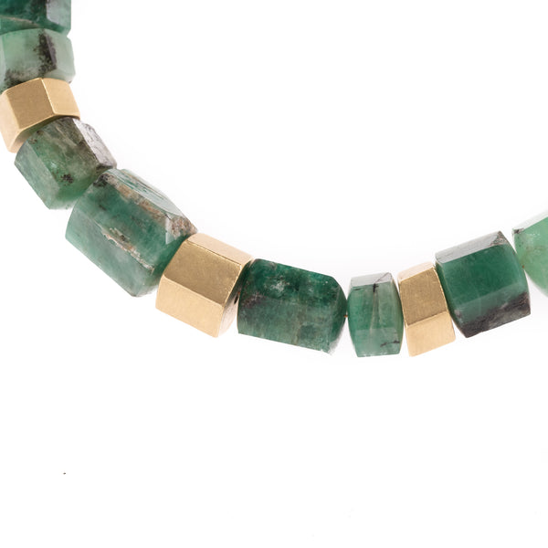 Raw Emerald and Gold Hex Necklace