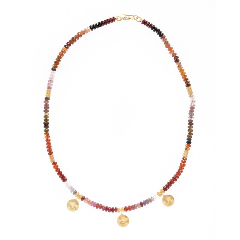 Multi Colored Garent with Pierced Gold Pendants Necklace