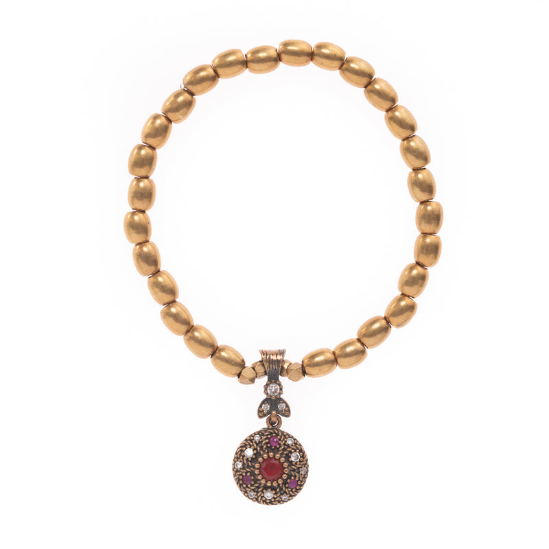 African Brass with Turkish Ruby and Diamond Pendant Bloom Bracelet