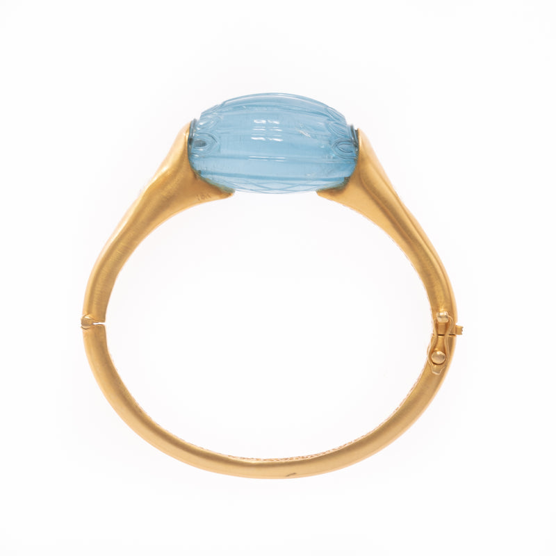 Carved Aquamarine with Diamonds Gold Bracelet