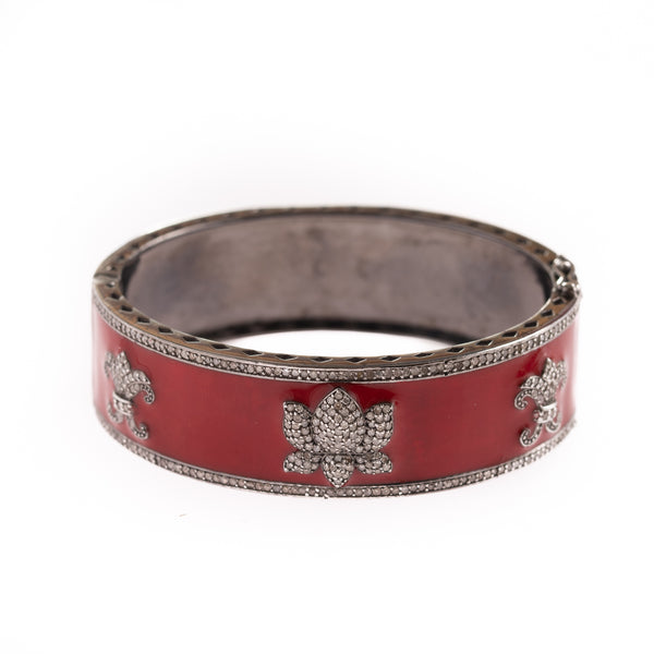 Red Enamel and Diamond Lotus Bracelet