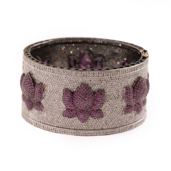 Diamond and Ruby Lotus Cuff Bracelet