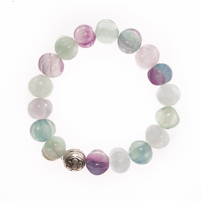 Fluorite and Silver Om Bead Bloom Bracelet