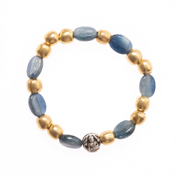African Brass and Kyanite with Silver Buddha Bead Bloom Bracelet