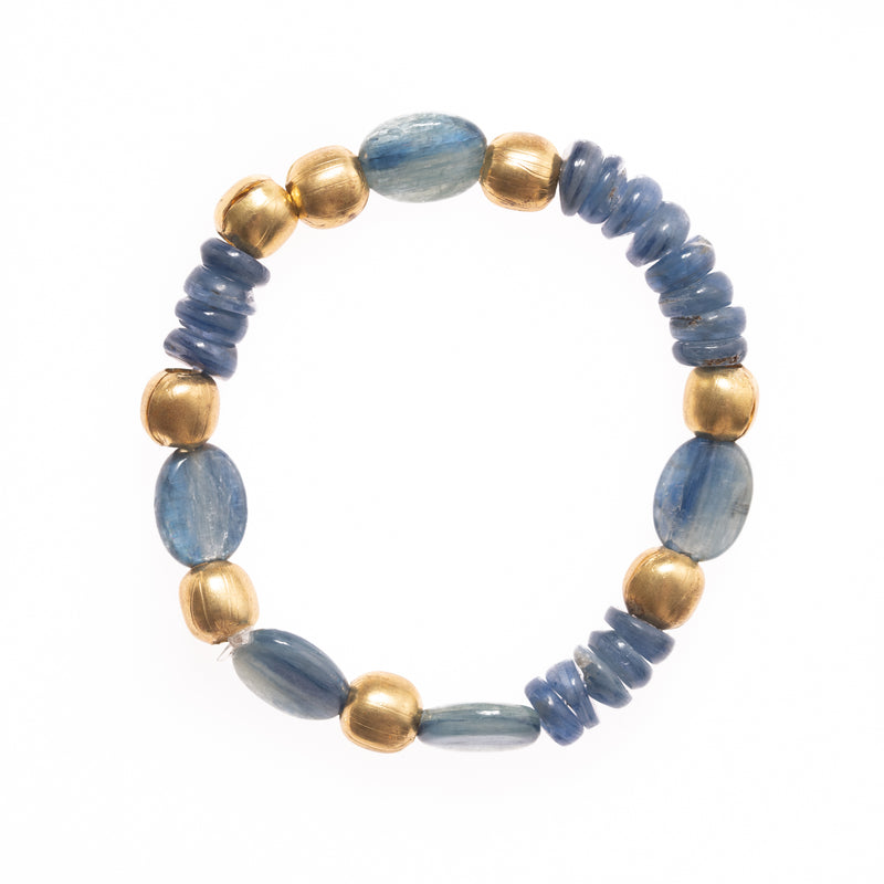 Kyanite and African Brass Beads Bloom Bracelet