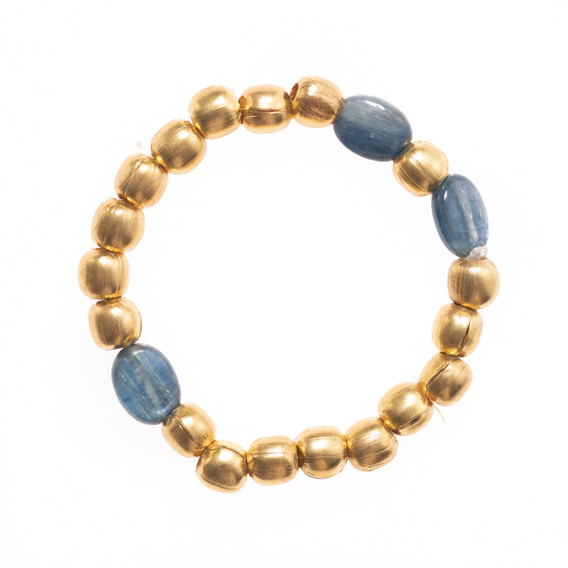African Brass and Kyanite Beads Bloom Bracelet