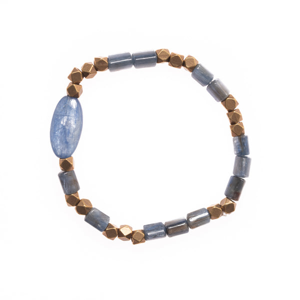 Kyanite and Geometric African Brass Beads Bloom Bracelet