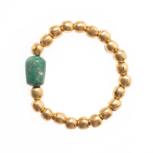 African Brass with Single Turquoise Bead Bloom Bracelet