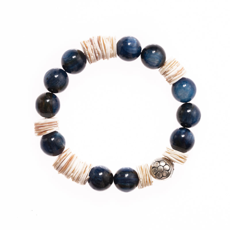 Kyanite and Shell with Silver Ganesha Bead Bloom Bracelet