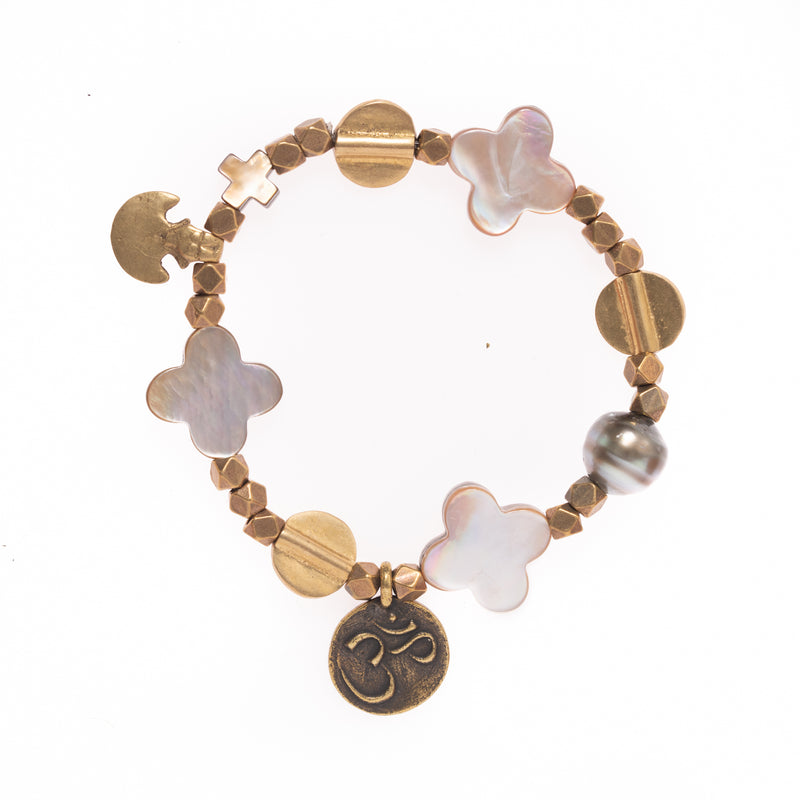 African Brass with Brass Beads, Mother of Pearl Clovers, Tahitian Pearl and Om Pendant Bloom Bracelet