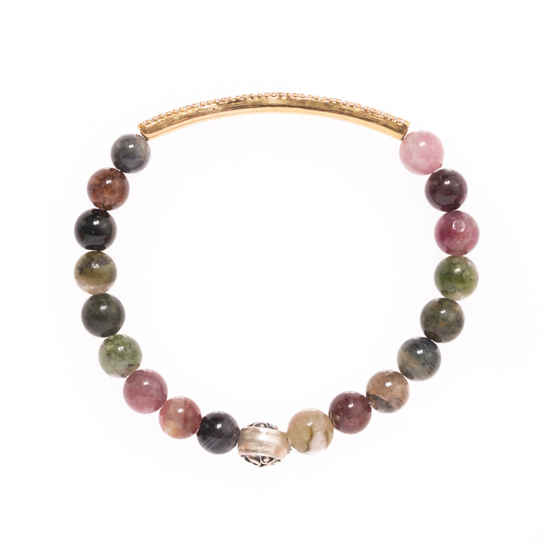 Tourmaline with Silver Om Bead and 18K Gold and Diamond Bar Bloom Bracelet
