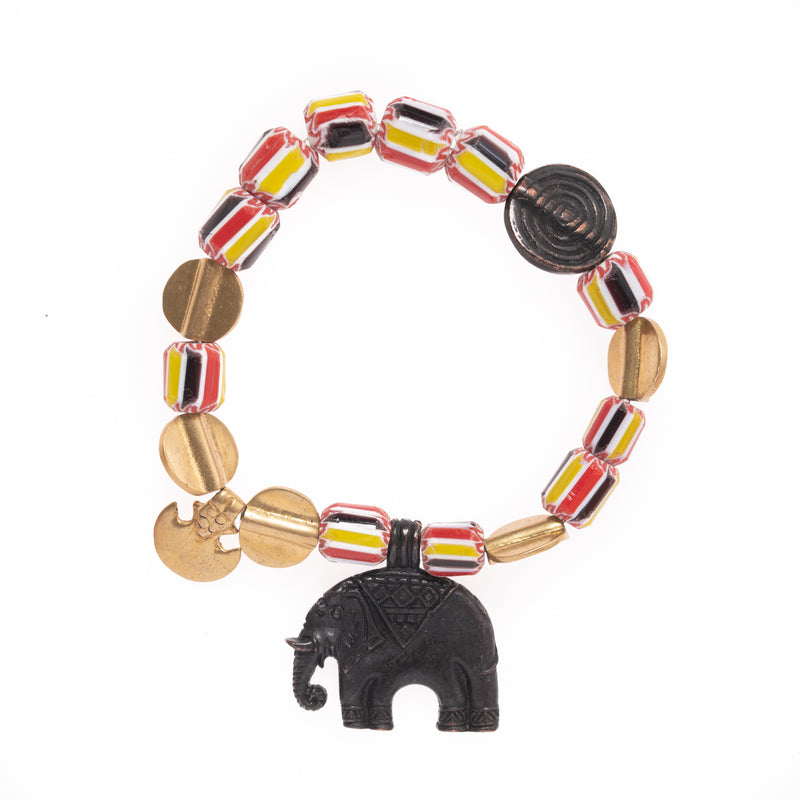 Vintage African Glass and Brass Beads with Elephant Pendant Bloom Bracelet