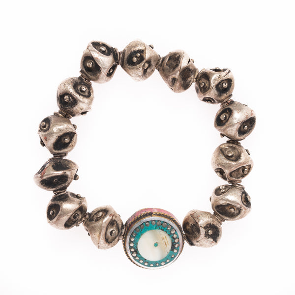 Vintage African Brass with Indian Bead Bloom Bracelet