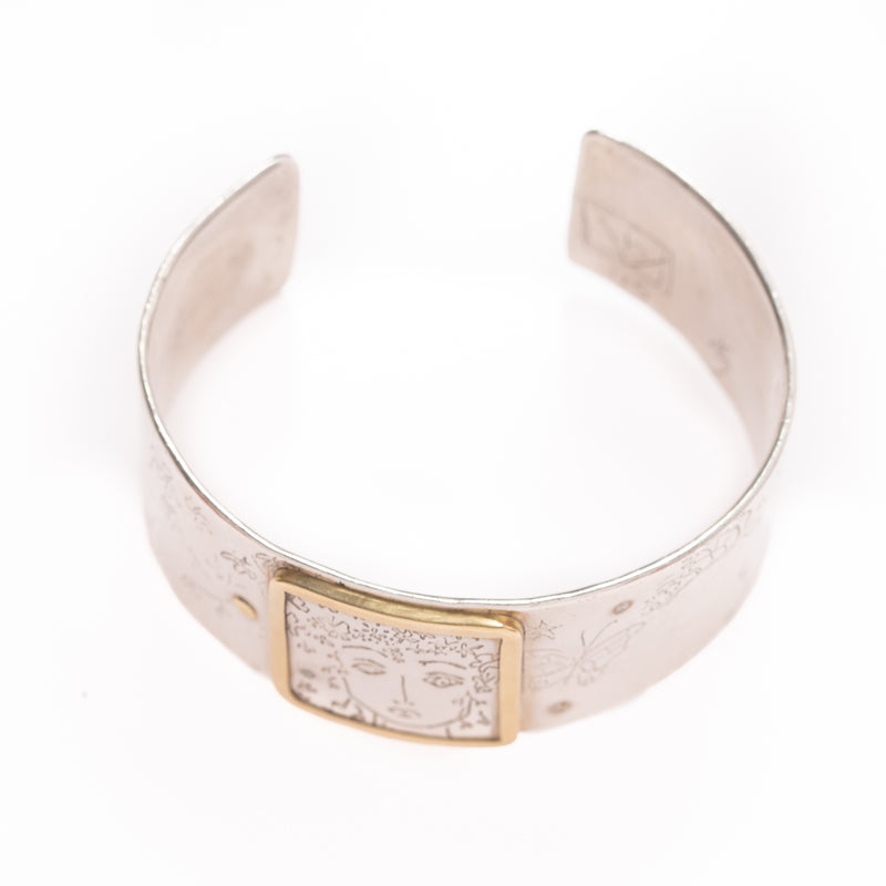 Gold Frame Woman Face Bracelet