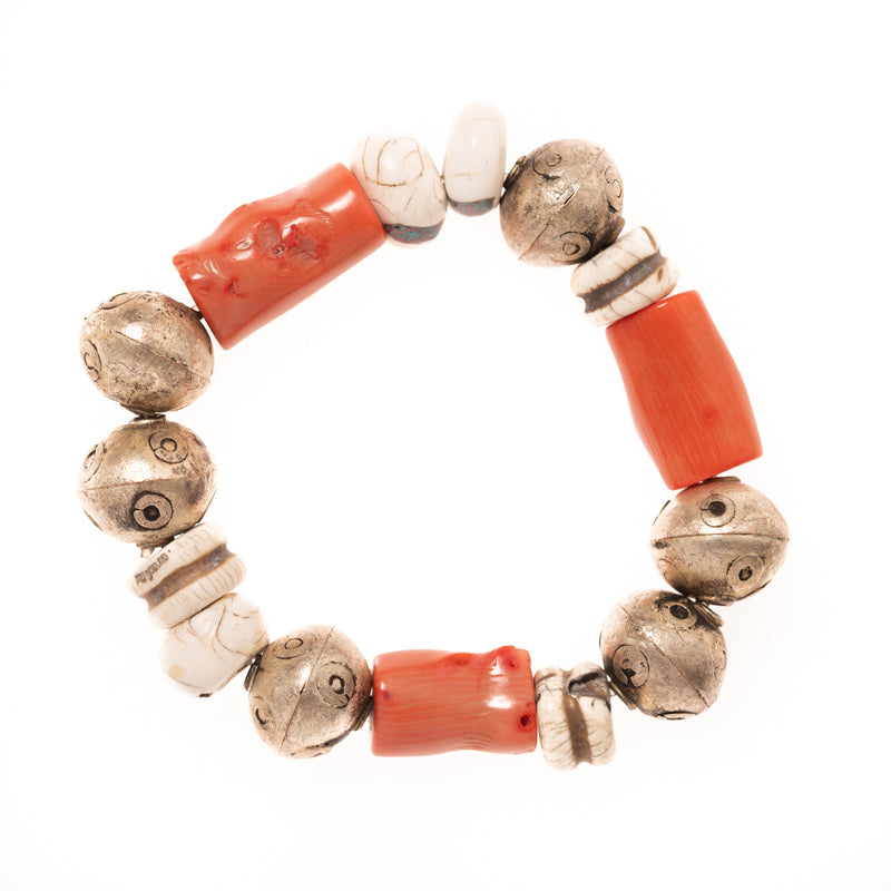 Vintage African Brass, Coral, and Shell Bloom Bracelet