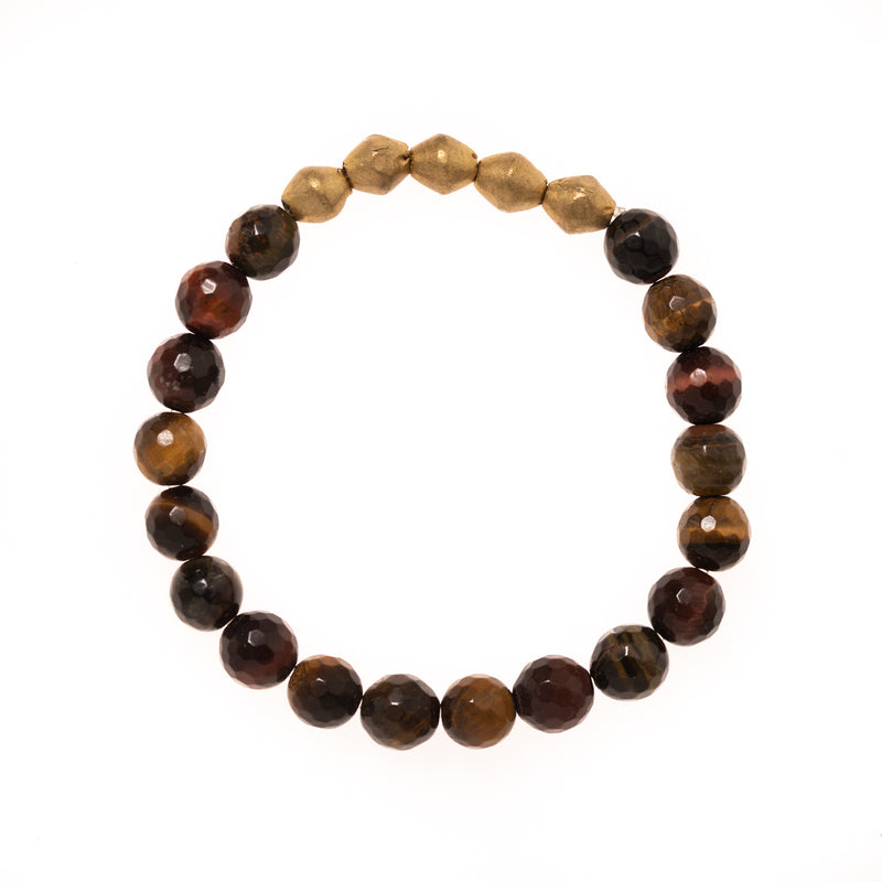 African Brass and Tigers Eye Beads Bloom Bracelet
