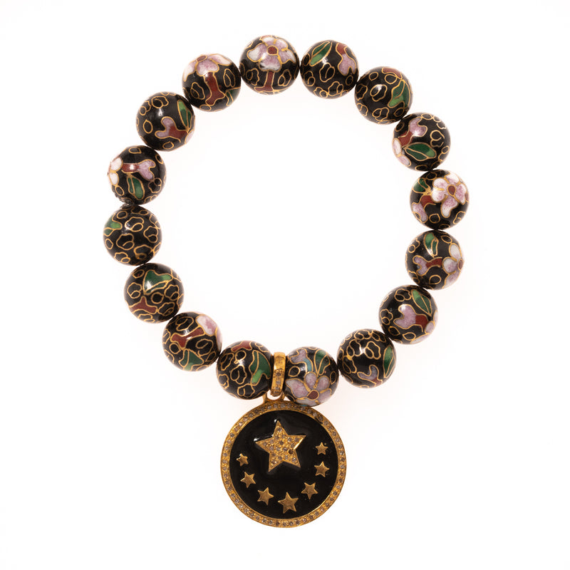 Vintage Black Cloisonne with Gold and Diamond Star Pendant Bloom Bracelet