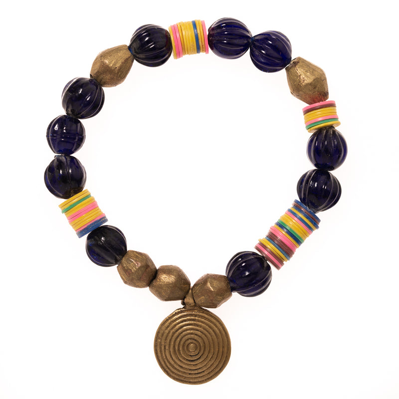 Vintage African Vinyl, Brass, and Blue Glass Beads with Brass Pendant Bloom Bracelet