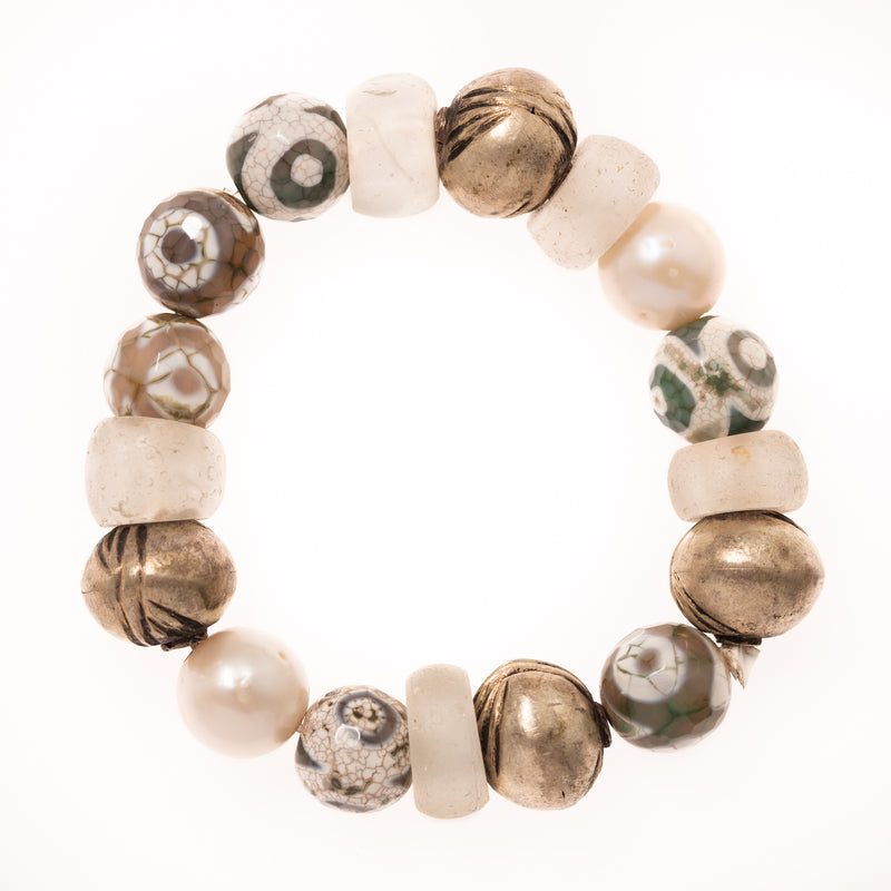 Painted Geode, African Brass, Glass and Pearl Beads Bloom Bracelet